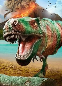 Dinosaurus - volcano 3D Plakat