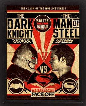 3D Plakát, Obraz s rámem Batman V Superman - Fight Poster