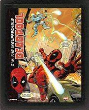 3D Plakát, Obraz s rámem Deadpool - Attack
