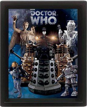 3D plakát s rámem DOCTOR WHO - aliens
