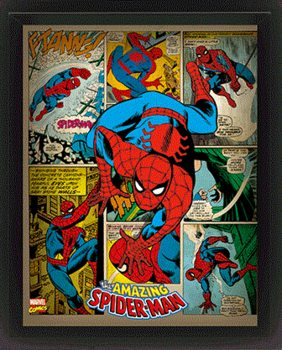 3D plakát s rámem Marvel Retro - Spider-man