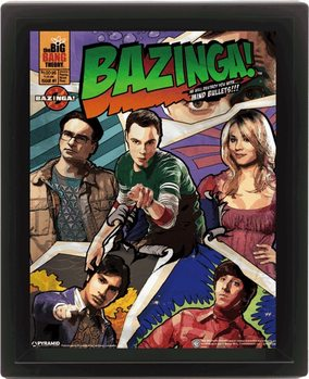 Agymenők (The Big Bang Theory) - Comic Bazinga 3D plakát keretezve