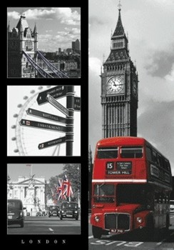 London - red bus 3D plakát