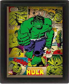 Marvel Retro - Hulk  3D plakát keretezve