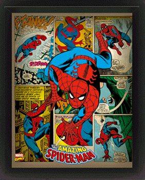 Marvel Retro - Spider-man  3D plakát keretezve