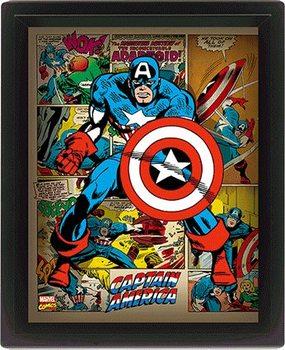 Marvel Retro - Captain America 3D Uokviren plakat
