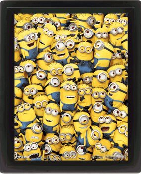 Minions (Despicable Me) - Many minions 3D Uokviren plakat