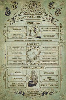 Poster Harry Potter - Hogwarts School List