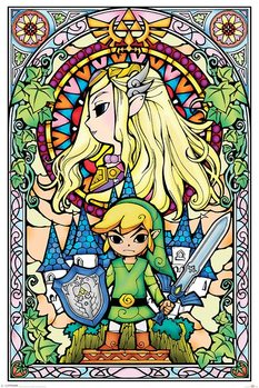Poster Legend Of Zelda - Stained Glass