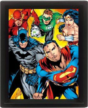 DC COMICS - heroes Poster en 3D encadré