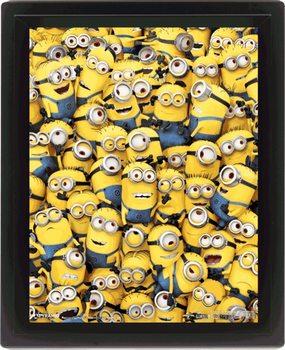 Minions (Moi, moche et méchant) - Many Minions Poster en 3D encadré