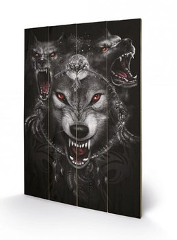 Cuadro de madera SPIRAL - wolf triad