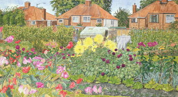 Reproducción de arte Allotments and Dahlias