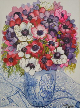Anemones in a Blue and White Pot, with Blue and White Textile, 2000, Reproduction de Tableau