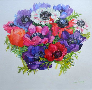 Anemones: red, white, pink and purple, 2000, Reproduction de Tableau