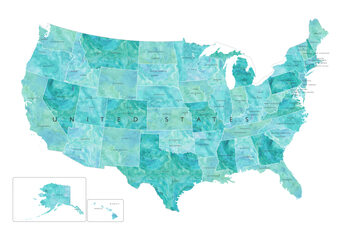 Mapa Aquamarine watercolor map of the US with state capitals