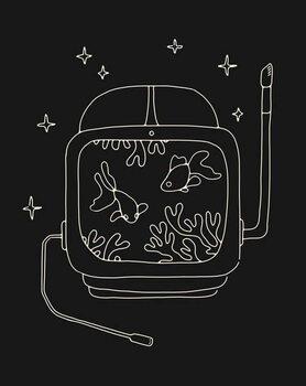 Astronaut Helmet in Water Kunstdruk