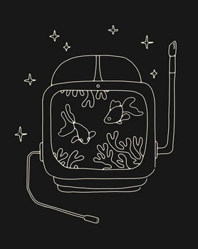 Astronaut Helmet in Water Obrazová reprodukcia