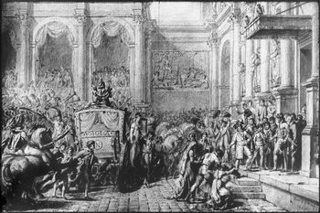 Back from the Consecration, Napoleon arriving at the Hotel de Ville, Paris, 1805 Reproduction de Tableau
