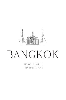 Illustration Bangkok coordinates with temple