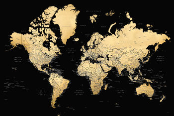 Ilustración Black and gold detailed world map with cities, Eleni