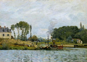 Boats at the lock at Bougival, 1873 Reproduction de Tableau