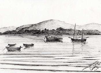 Boats off Iona, 2007, Reproduction de Tableau