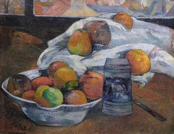 Bowl of Fruit and Tankard before a Window Kunsttryk