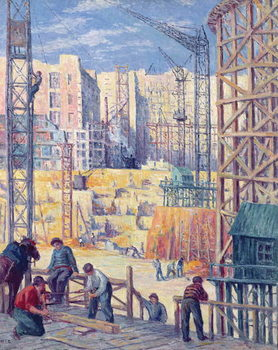 Building Site in Paris, quai de Passy, 1907 Kunstdruk