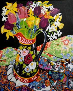 Reproducción de arte Canal Boat Jug, Daffodils and Tulips,2005