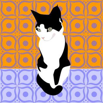 Cat on Morrocan Tiles Reproduction de Tableau