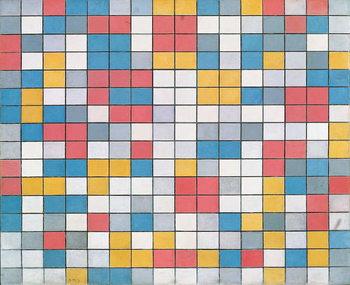 Checker board composition with light colours, 1919, by Piet Mondrian , oil on canvas. Netherlands, 20th century. Kunstdruk