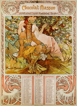 Reproducción de arte Chocolate Masson calendar illustrated by Mucha . a Czech Art Nouveau painter