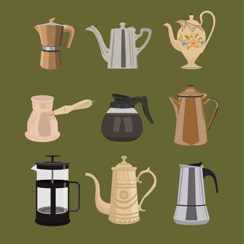 Coffee Pots Kunsttryk
