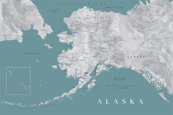 Kort Detailed map of Alaska en teal and grey watercolor