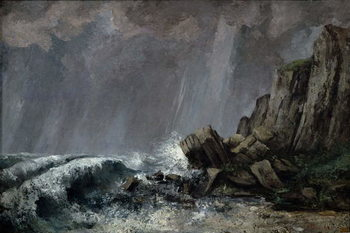 Downpour at Etretat Kunsttryk
