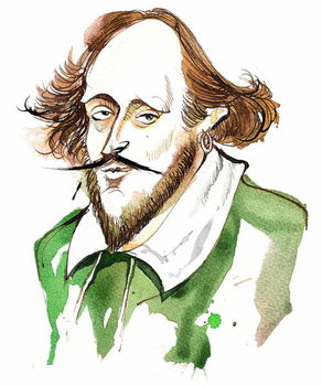 English playwright and poet William Shakespeare; caricature Kunstdruck