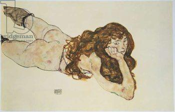 Female Nude Lying on her Stomach Kunstdruk