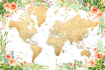 iIlustratie Floral bohemian world map with cities, Blythe