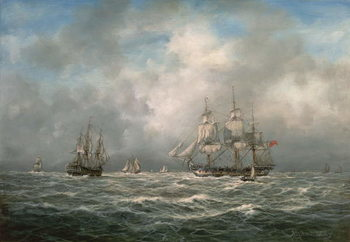 Frigate hove-to, Awaiting a Pilot Reproduction de Tableau