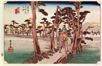 Fuji from Yoshiwara from 53 Stations of the Tokaido, c.1833 Reproduction de Tableau