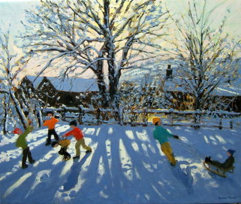 Fun in the snow, Tideswell, Derbyshire Kunstdruck