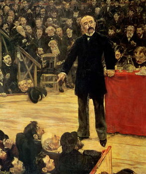 Georges Clemenceau (1841-1929) Making a Speech at the Cirque Fernando, 1883 Kunsttryk