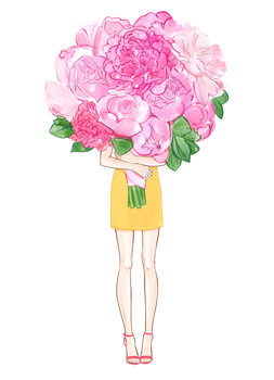 Ilustrácia Girl and Peonies