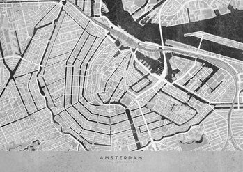 Kort Gray vintage map of Amsterdam