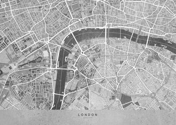 Kaart Gray vintage map of London downtown