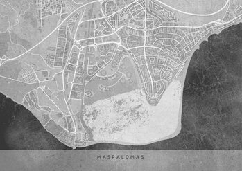 Stadtkarte Gray vintage map of Maspalomas