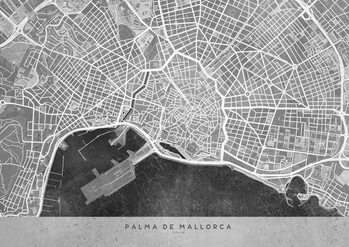Kaart Gray vintage map of Palma de Mallorca