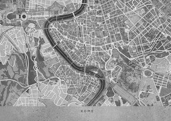 Stadtkarte Gray vintage map of Rome