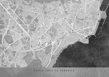 Stadtkarte Gray vintage map of Santa Cruz de Tenerife
